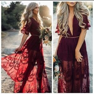 🌿NEW Wine Stunning Boho Goddess Lace Maxi Romper